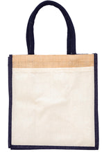 Load image into Gallery viewer, JB6114 - Jute Cotton Pocket Bag - Natural / Black
