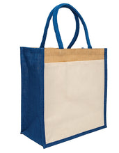 Load image into Gallery viewer, JB6116 - Jute Cotton Pocket Bag - Natural / Blue