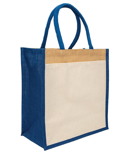 JB6116 - Jute Cotton Pocket Bag - Natural / Blue