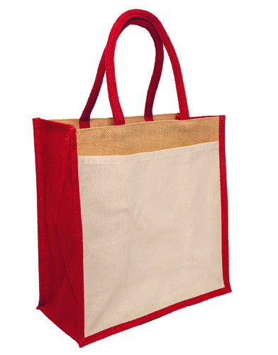 JB6117 - Jute Cotton Pocket Bag - Natural / Red