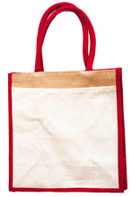 Load image into Gallery viewer, JB6117 - Jute Cotton Pocket Bag - Natural / Red