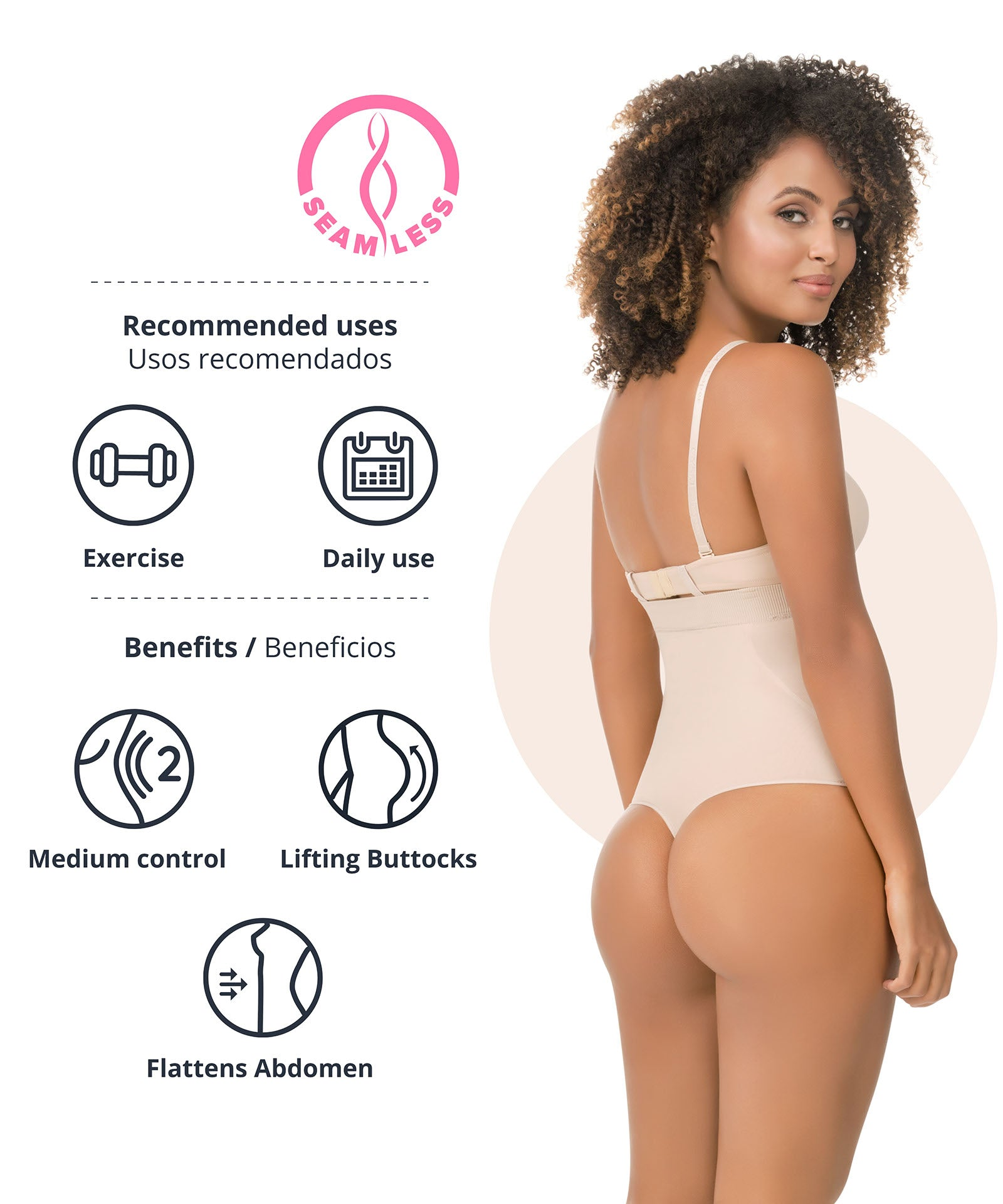 1596  - High-Waist Tummy Control Shaper in Thong