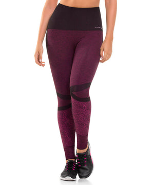 909 - Ultra Compression and Abdomen Control Fit Legging Fuchsia Jaspe