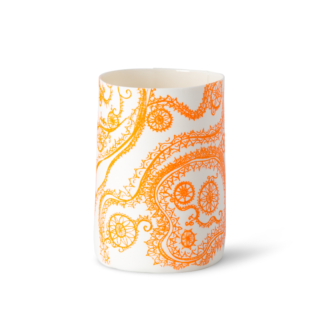 Illuminator Vase Short Orange Fauve Swirl