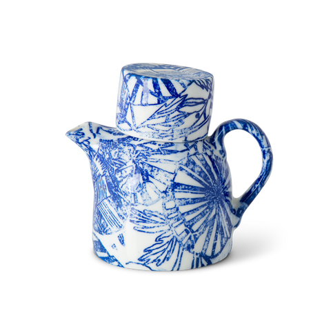 Teapot Individual Blue Retro Flower
