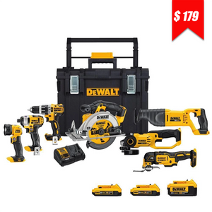20-Volt MAX Lithium-Ion Cordless Combo Kit (7-Tool) with (1) 4Ah and (2) 2Ah Batteries in a Rolling ToughSystem Toolbox