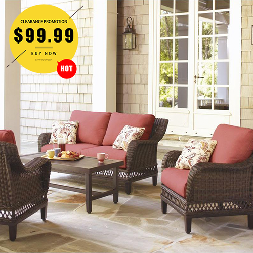 4-Piece Wicker Outdoor Patio Seating Set with Chili Cushion