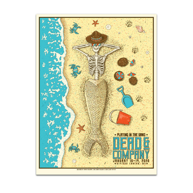 PLAYING IN THE SAND MERMAID SKELETON POSTER-Dead & Company