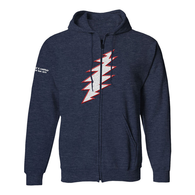 Lightening Bolt Zip Hoodie-Dead & Company