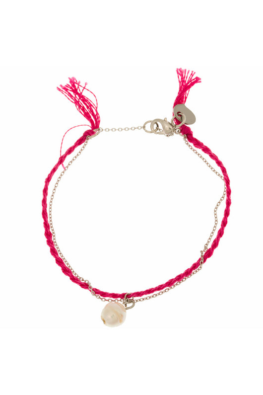 MINT - Pearl & braided thread bracelet - cerise