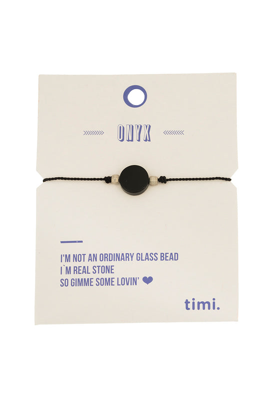 MINT - Single stone silk bracelet - silver/black onyx