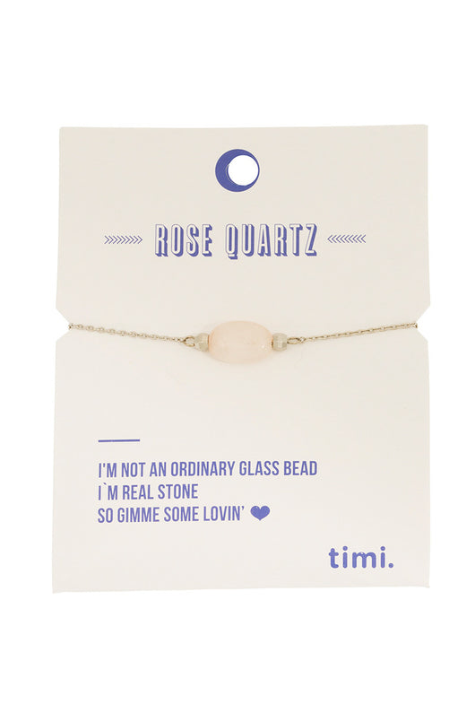 MINT - Single stone bracelet - silver/rose quartz