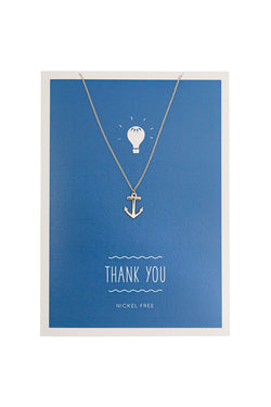 MINT - Thank you & anchor charm - silver