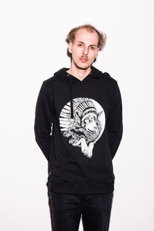 THE BEARHUG CO - INDIAN WOLF - LIMITED EDITION - BLACK HOODIE – Unisex