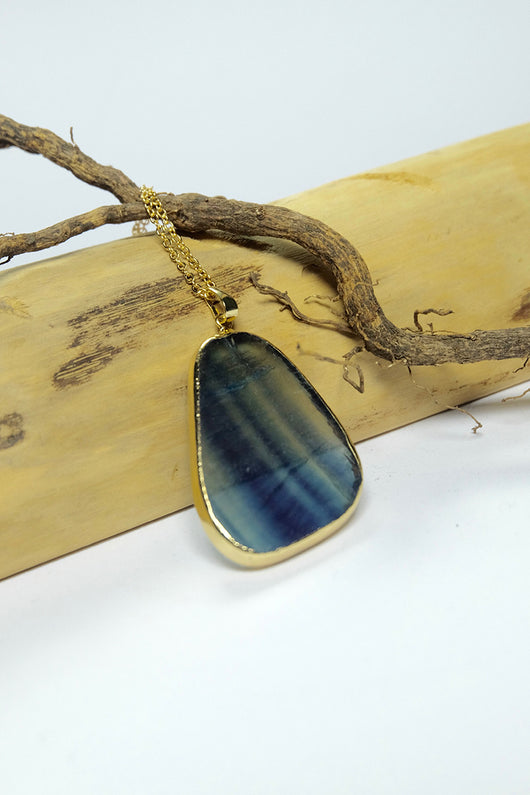 EwelinaPas handmade Fluorite Gold Gemstone Necklace