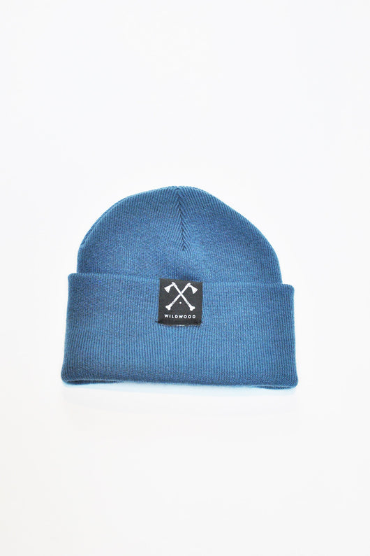 WILD WOOD - LOGO PATCH BEANIE - BLUE