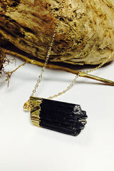 EwelinaPas – handmade black Turmalin Chunk – Gemstone Necklace