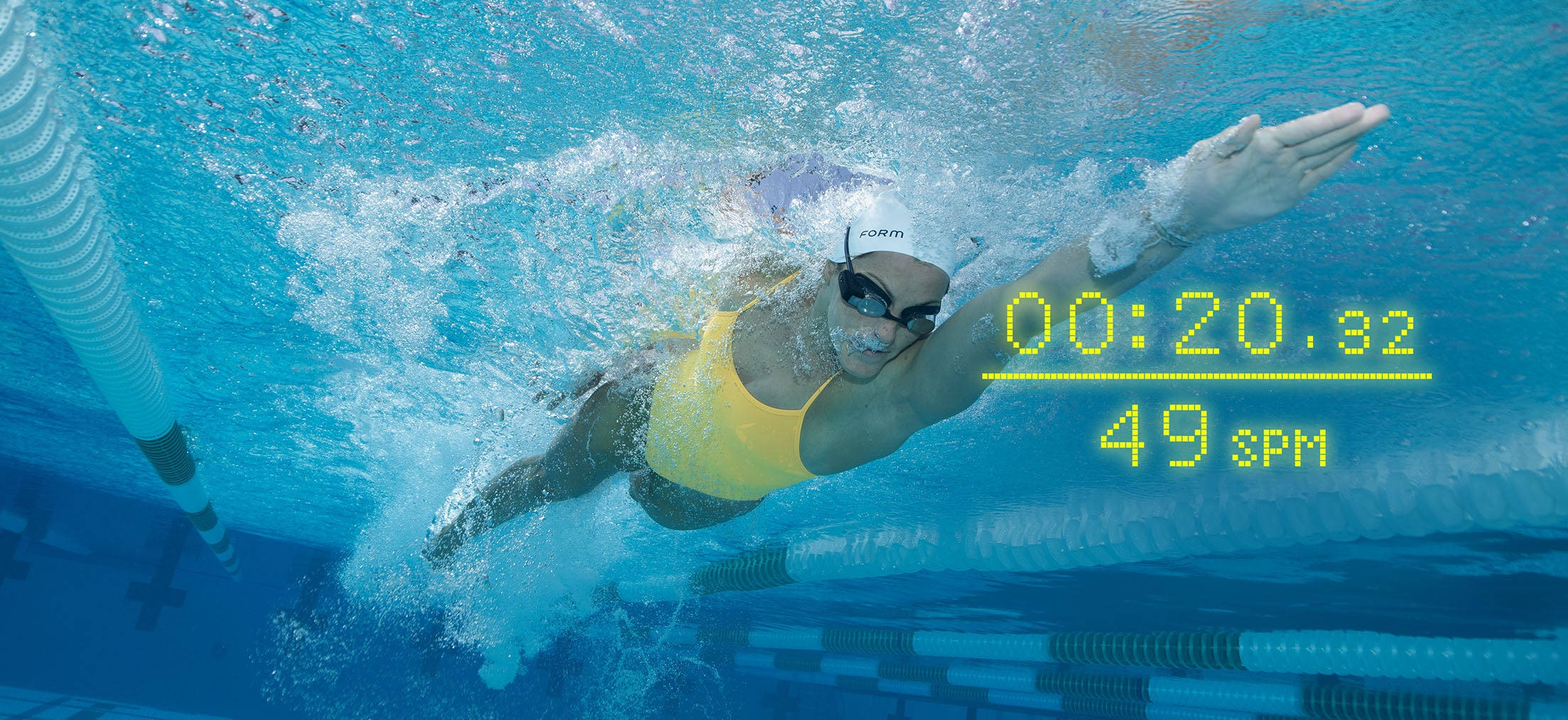 The FORM goggles with see-through smart display is the ultimate swim companion.