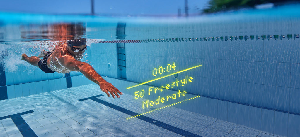 overlay of instructions for a swim from the FORM goggles