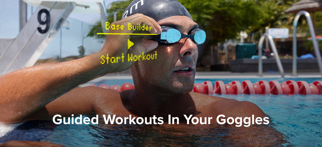 Swimmer starting Base Builder workout on the FORM Smart Swim Goggles