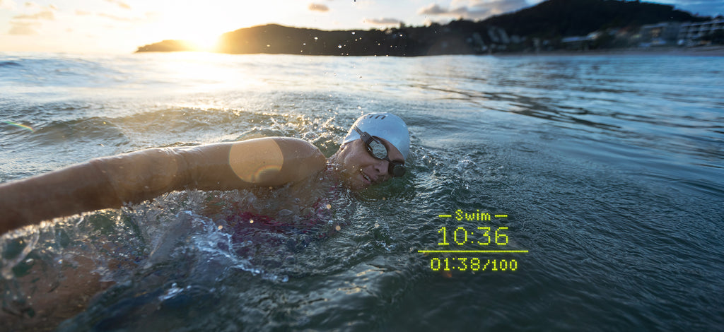 Sarah Crowley swimming with the FORM Smart Swim Goggles