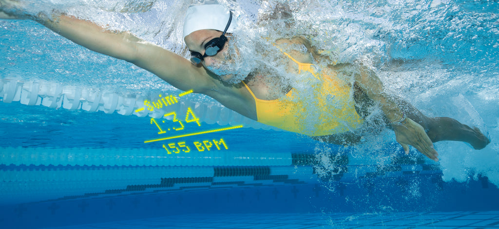 Swimmer exhaling during a pool swim