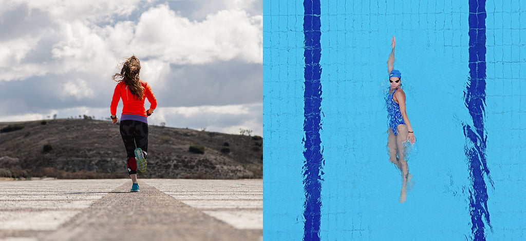split image of a swimmer and a runner