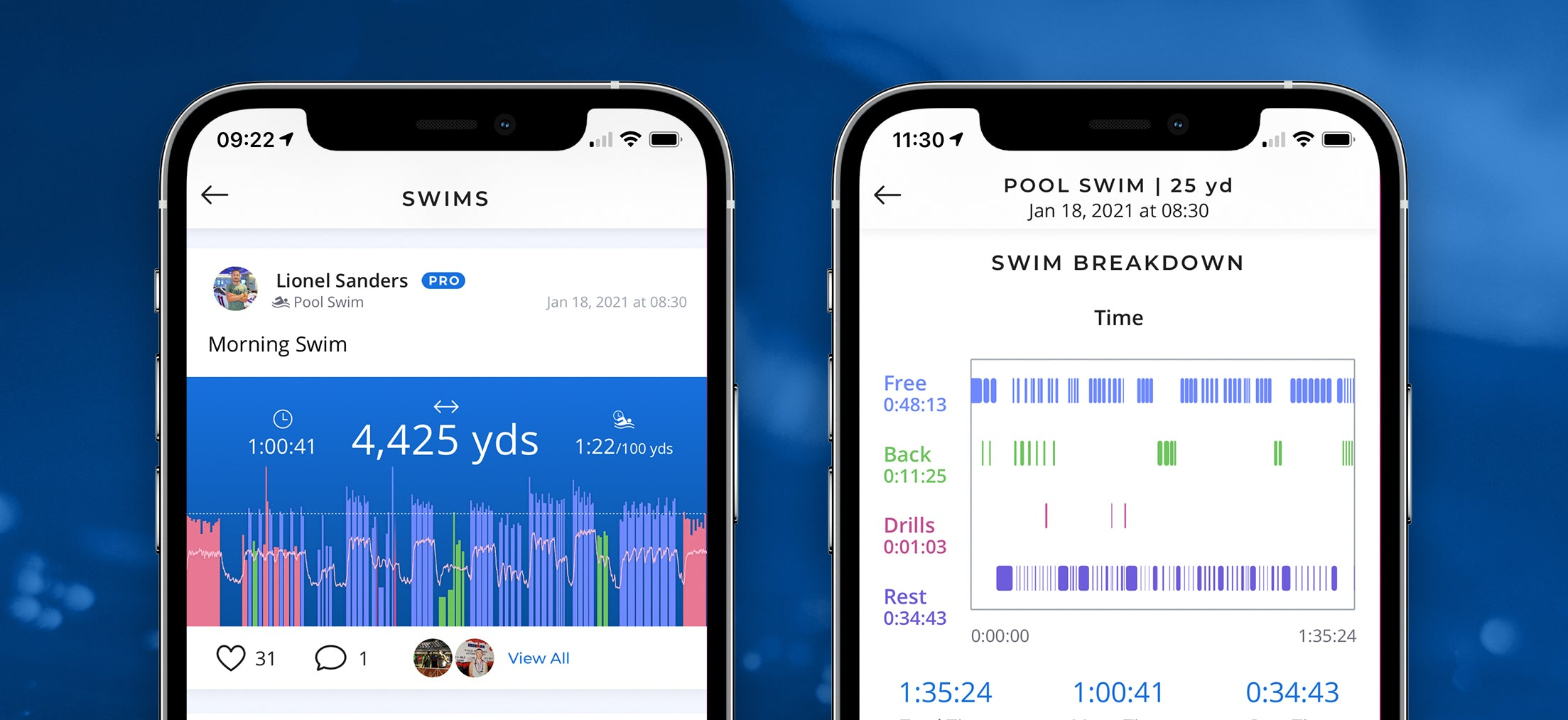 See your workout details on with your smartphone with FORM swim goggles.