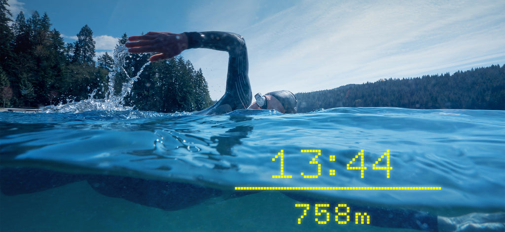 Swimmer in openwater with real time metrics