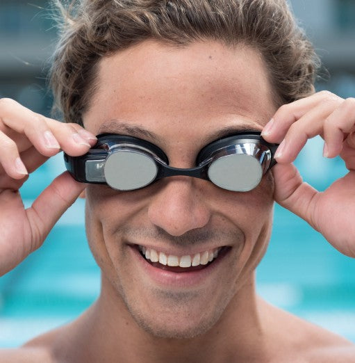 well-fitting swim goggles