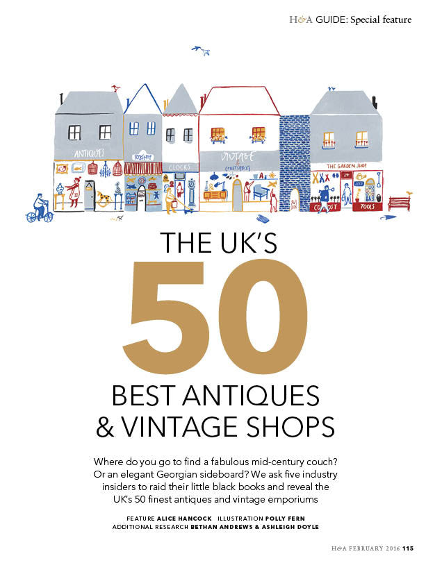 Doe & Hope Featured in Homes & Antiques; 50 Best Antique Shops for 2016...