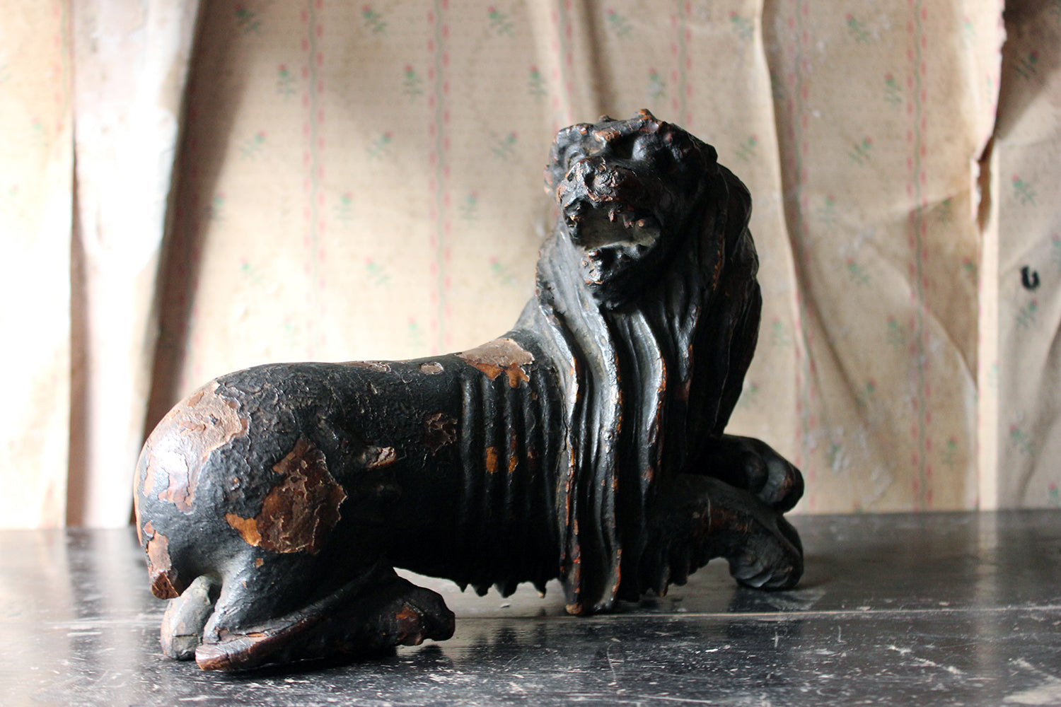 A Wonderful 16thC Northern European Black Painted & Carved Beech Model of A Lion c.1570-1600