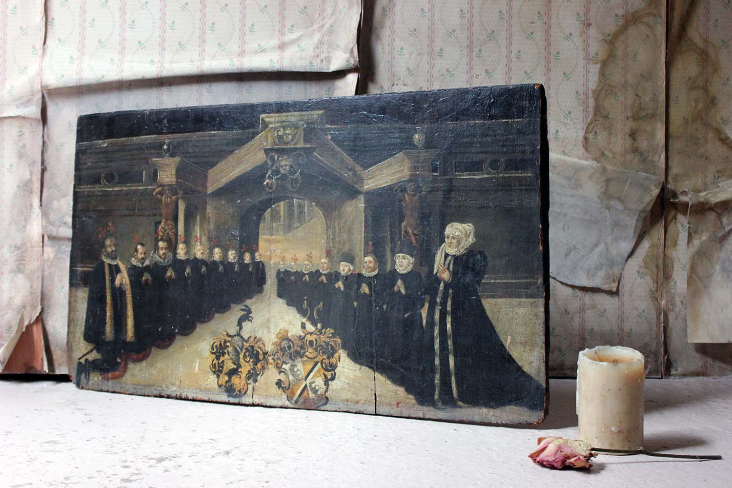 A Rare Mid 17thC Oil on Panel; In Memory of a Patrician Family