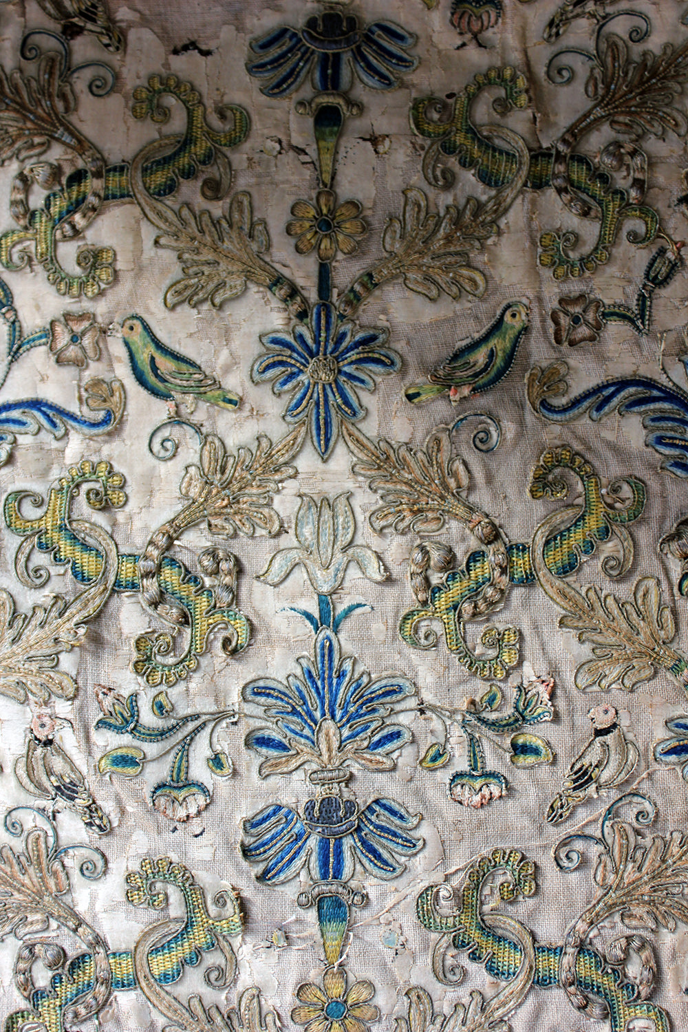 A Large 17thC English Silk & Metal Threaded Embroidery c.1680-1700