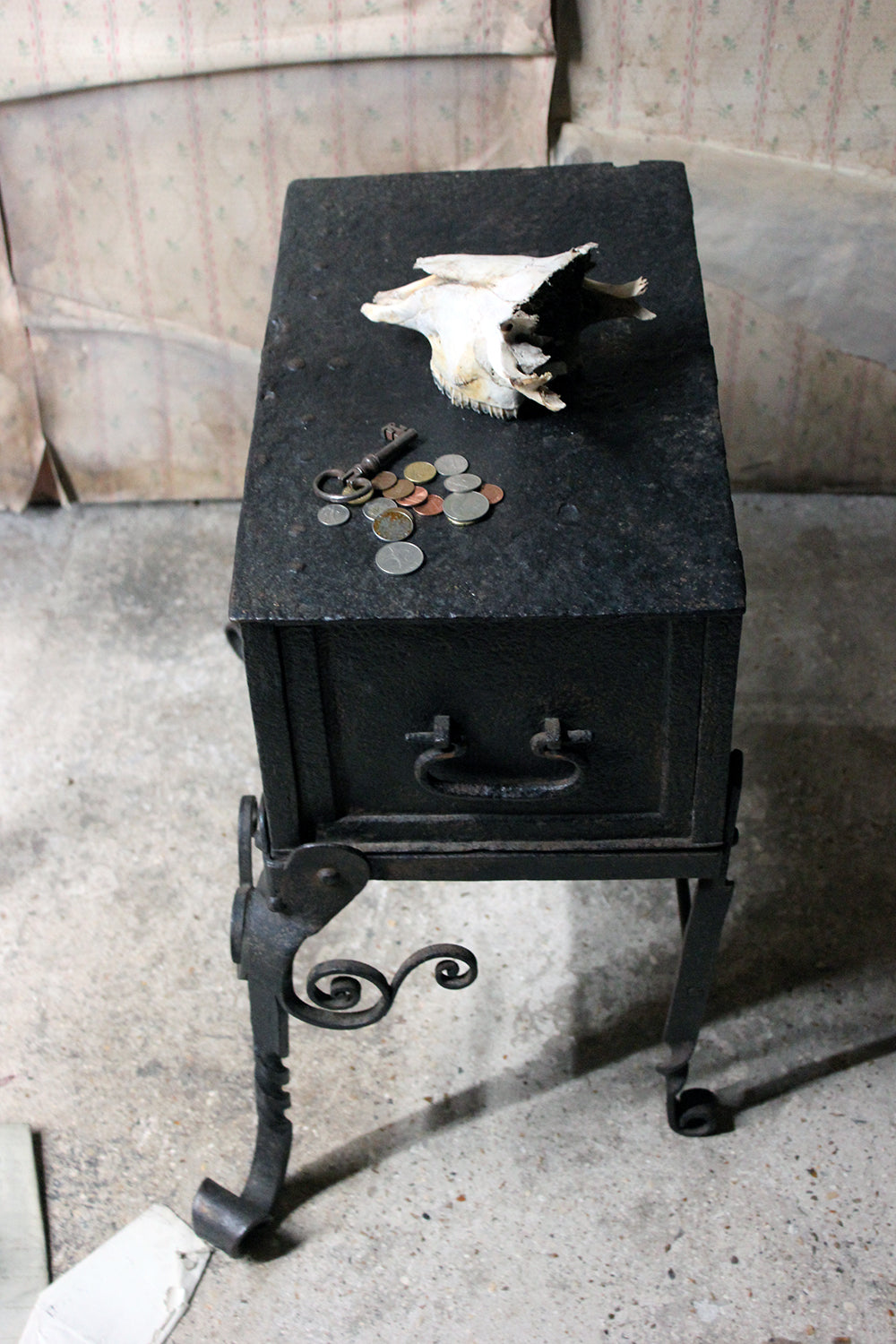 A Rare 17thC Spanish Baroque Iron Strong Box on Stand c.1660-90