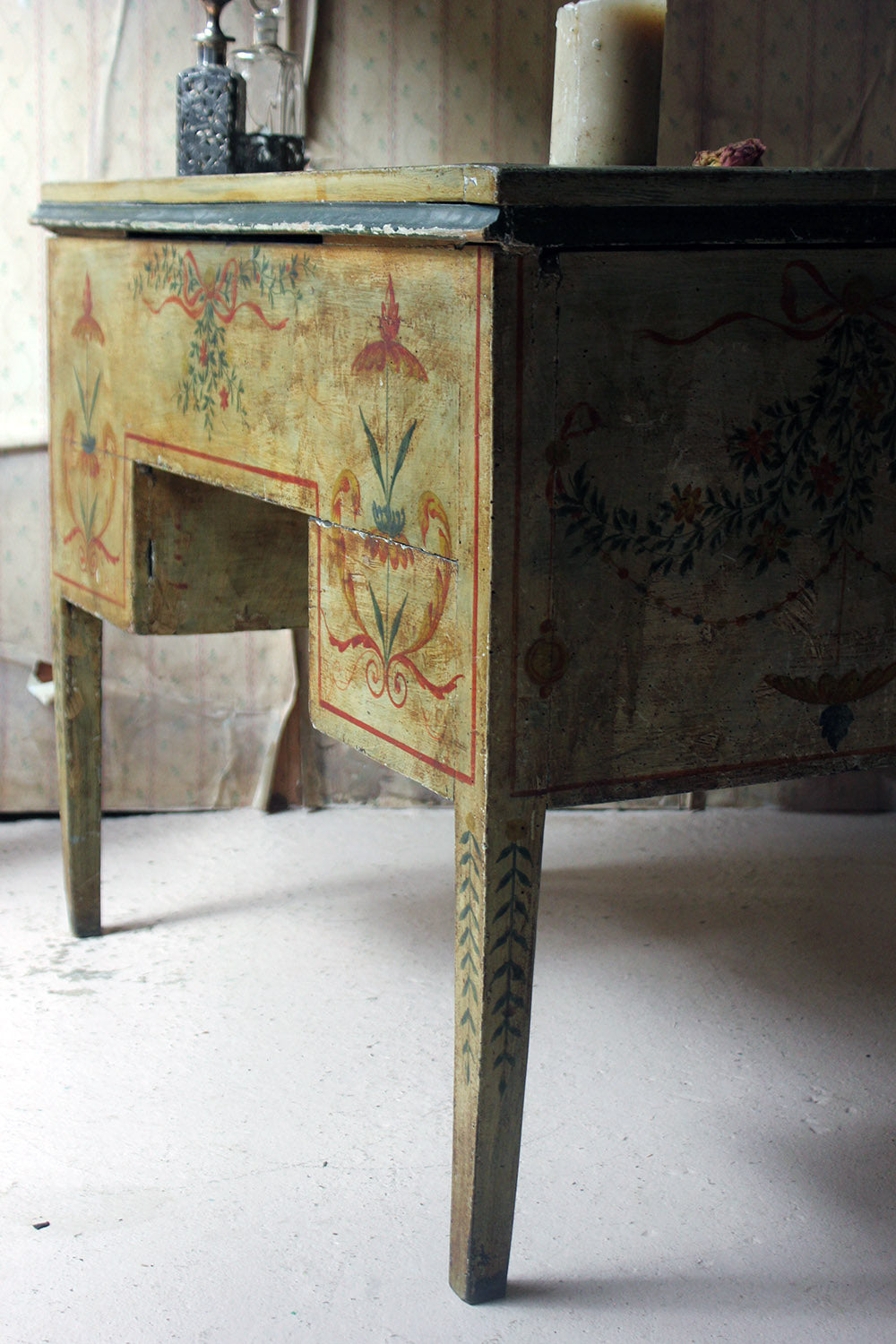 An 18thC North Italian Polychrome Painted Centre Table / Desk c.1780