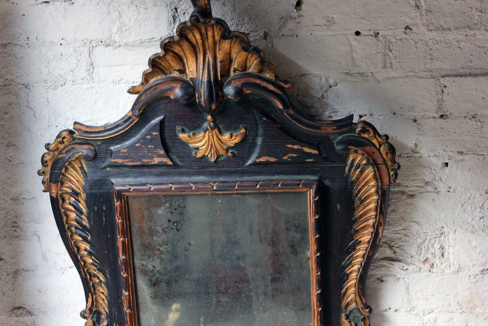A Decorative 18thC Painted & Carved Oak Wall Mirror c.1790