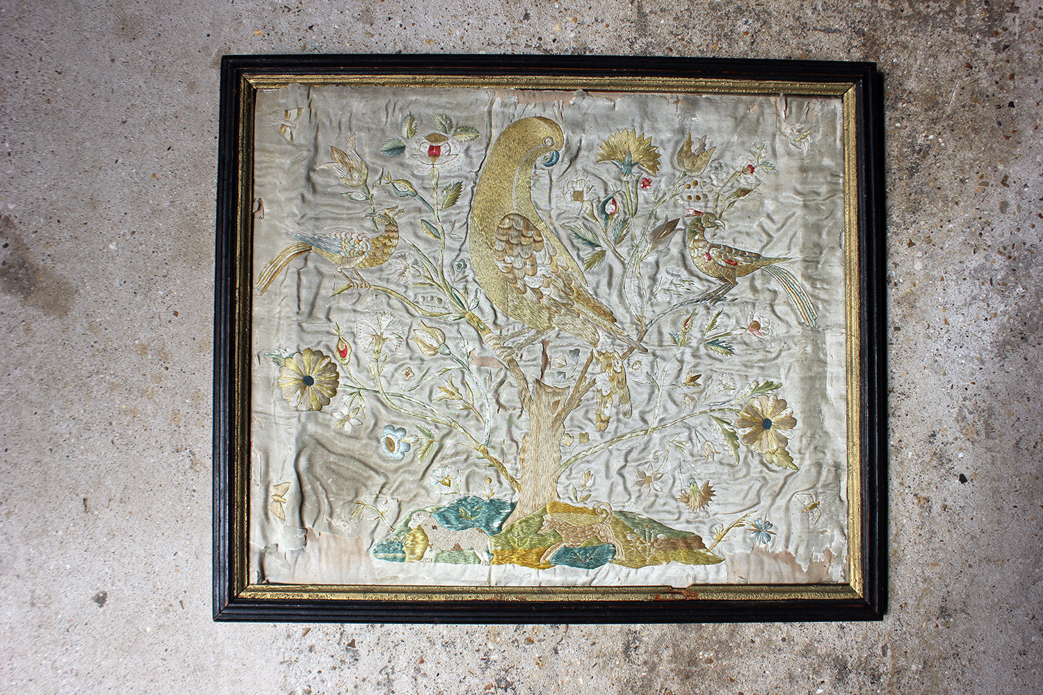 A Very Pretty Early 18thC Period Silkwork Picture Depicting the Tree of Life c.1700