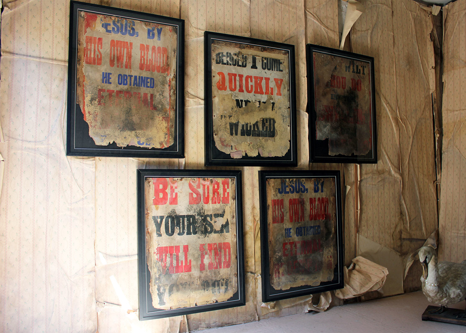A Group of Five Large Framed Pentecostal Movement London Assemblies of God Sermon Posters c.1964