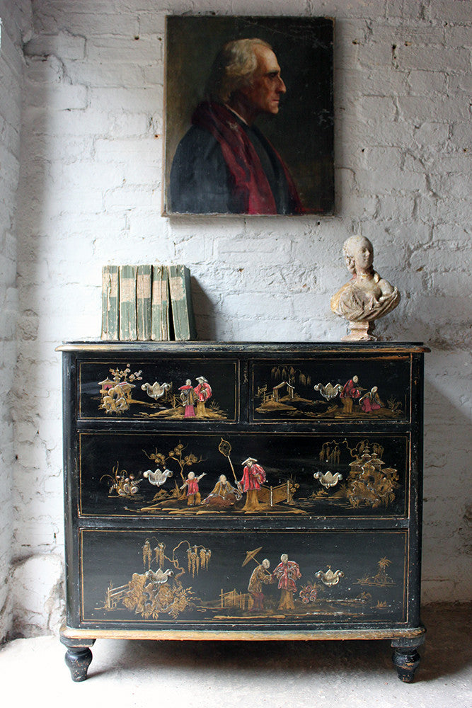 A Beautiful Late 19thC Black Japanned & Chinoiserie Decorated Chest of Drawers