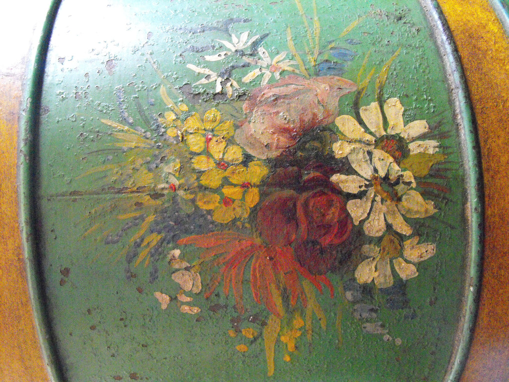A Large & Attractive Hand-Painted Victorian Tea Canister