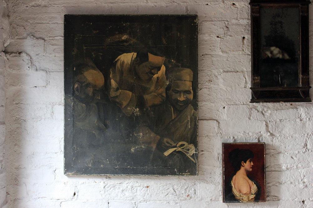 An Atmospheric Oil on Canvas Portrait Study of Three Asian Gentlemen; Signed A. Lambert