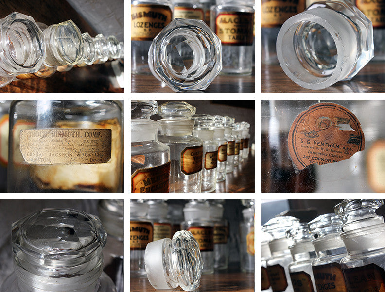 A Fantastic Group of Nine Early 20thC Clear Glass Chemist's Jars