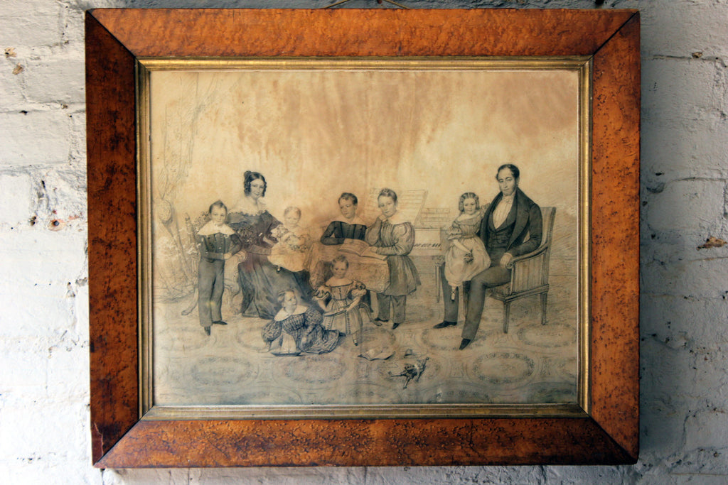 A Very Good c.1840s Pencil & Charcoal Family Portrait; The Family of Sir Jean de Veulle, Bailiff of Jersey 1831-1848