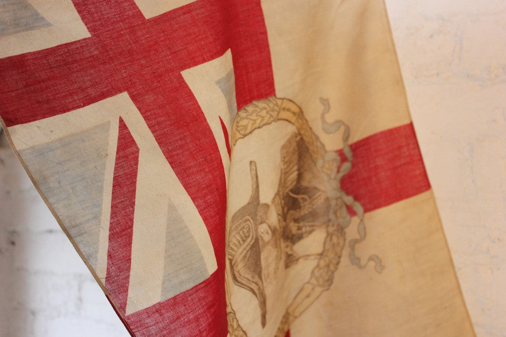 A Scarce British Antique George V Commemorative Coronation Souvenir Union Jack Flag on Pole c.1910