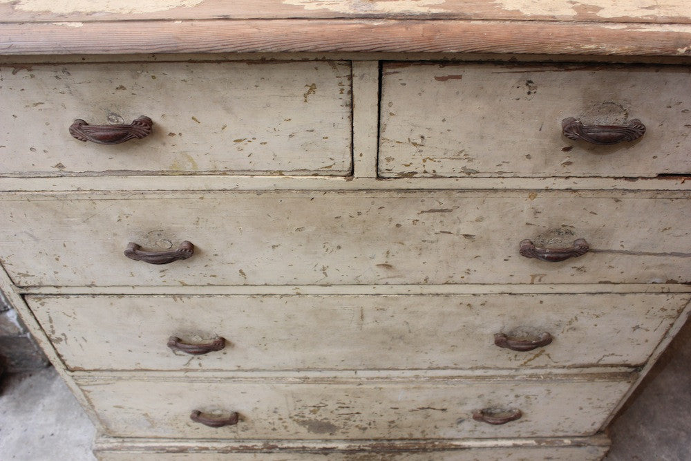 An Attractive 19thC Ivory Painted Pine Chest of Drawers