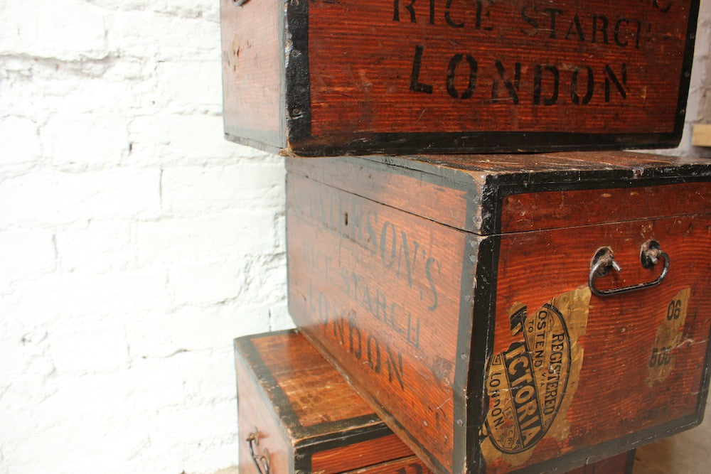 "Three Highly Desirable 19thC Stained & Painted Pine Rectangular Storage Boxes for ""W. Paterson`s Rice Starch, London"""
