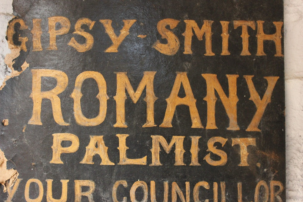 "A Wonderful c.1940 Hand Painted Fairground Booth Sign; ""Gipsy Smith Romany Palmist"""