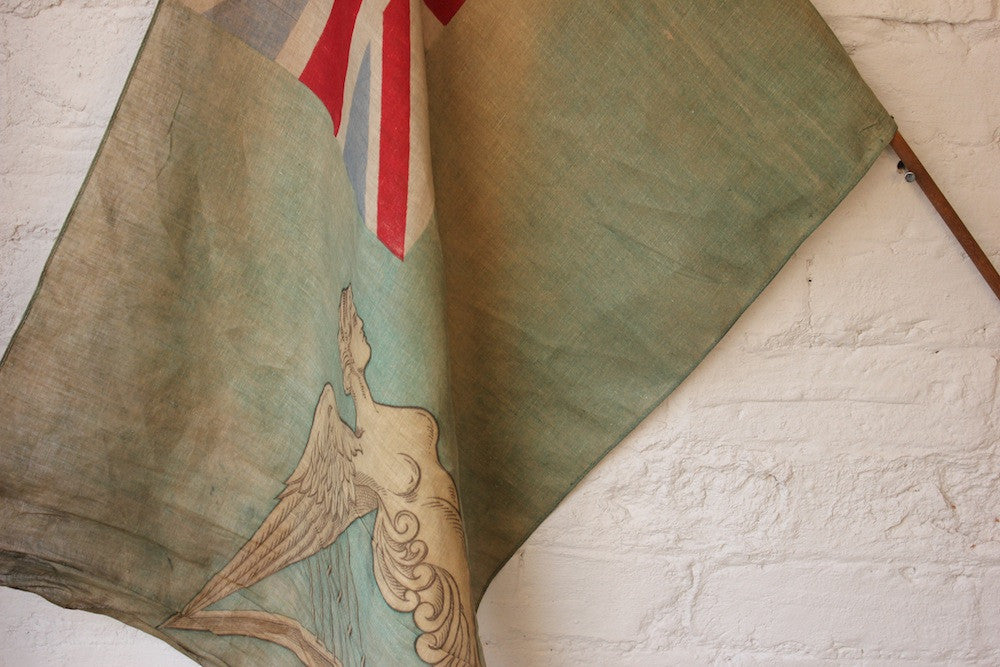 A Scarce Antique Royal Navy Green Ensign Flag on Pole c.1910