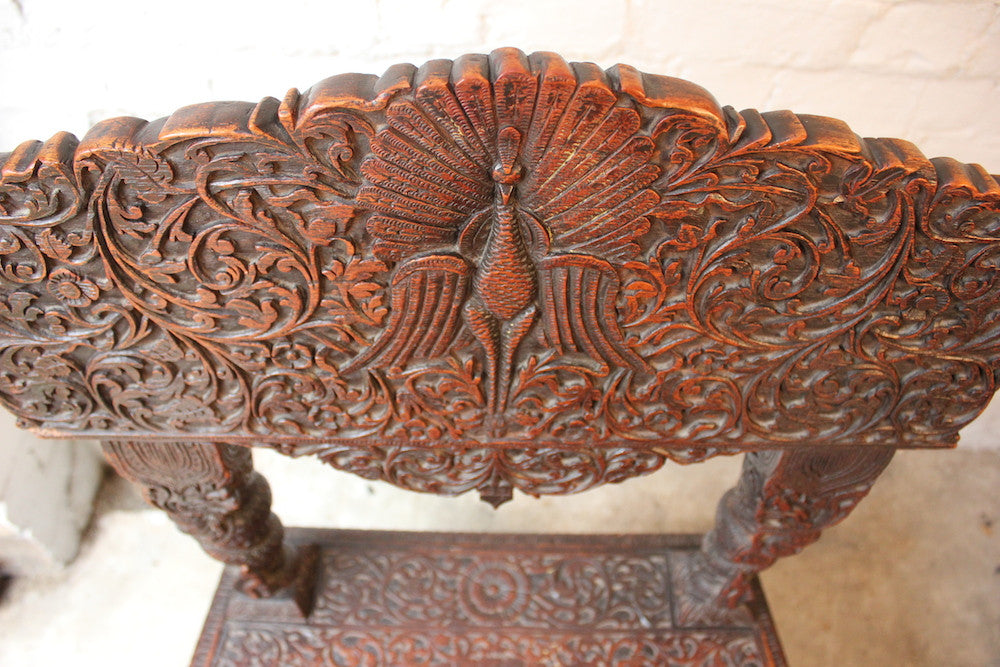 A Very Fine 19thC Anglo-Indian Carved Rosewood Side Chair